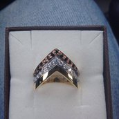 Anello fasce tricolore in argento 925 e Cubic Zirconia bianchi e neri.
