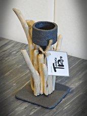 LE MIGNON porta candela con legni di mare