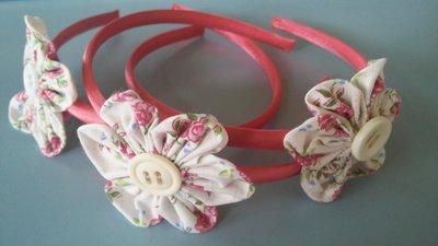 Cerchietto  con fiore kanzashi accessorio per capelli donna bambina