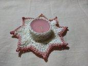 Portacandela di cotone all'uncinetto