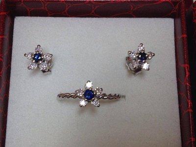 Completo,coppia di orecchini e anello a fiore in argento 925 e Cubic Zirconia