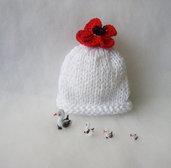 Cappellino per neonata / Cappellino cotone bambina / Accessori neonata / Cappellino Fatto a mano / Photo prop / Rosso Papavero