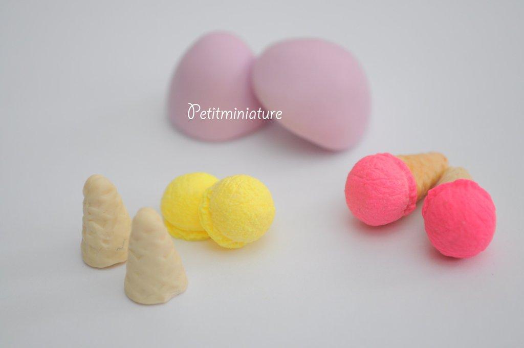 Stampo Silicone Flessibile cono gelato,Miniature cibo,gioielli,charms,gelato,fimo,polymer clay,resina,sapone,dolce,20mm ST048