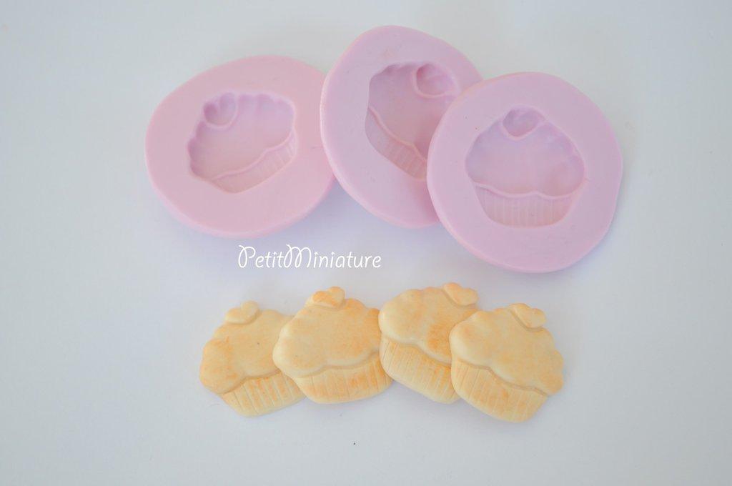 Cupcake stampo 3D in Silicone flessibile Mold 3cm panna montata Deco in miniatura Kawaii dolci Mold Fimo gioielli Charms cibo Soap ST071