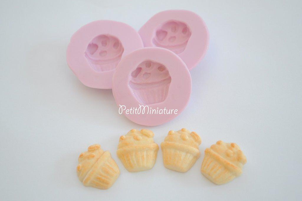 Cupcake stampo 3D in Silicone flessibile Mold 3cm panna montata Deco in miniatura Kawaii dolci Mold Fimo gioielli Charms cibo Soap ST072