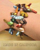 Bracciale in perle di fiume multicolor