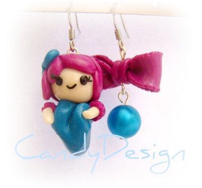 Orecchini doll fantasmina con fiocchetto doll in fimo e cernit