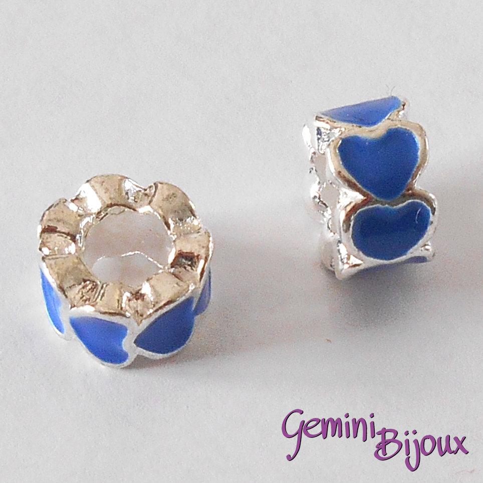 Perla a foro largo in alluminio con cuori smaltati, 10x6, silver-blu