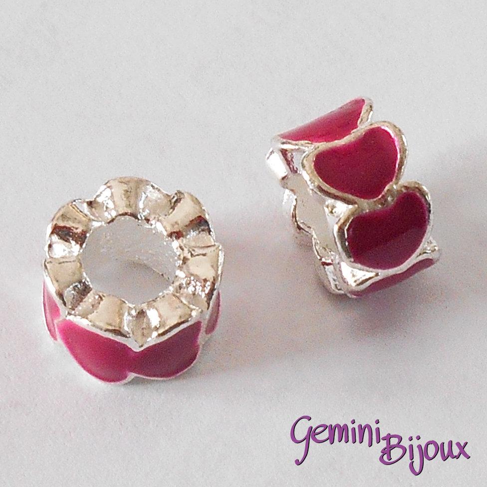 Perla a foro largo in alluminio con cuori smaltati, 10x6, silver-fuxia