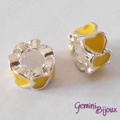 Perla a foro largo in alluminio con cuori smaltati, 10x6, silver-giallo
