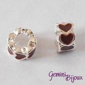 Perla a foro largo in alluminio con cuori smaltati, 10x6, silver-marrone