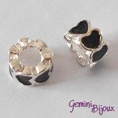 Perla a foro largo in alluminio con cuori smaltati, 10x6, silver-nero