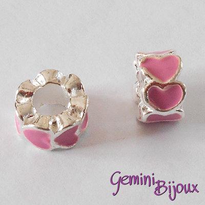 Perla a foro largo in alluminio con cuori smaltati, 10x6, silver-rosa