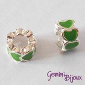 Perla a foro largo in alluminio con cuori smaltati, 10x6, silver-verde