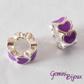 Perla a foro largo in alluminio con cuori smaltati, 10x6, silver-viola