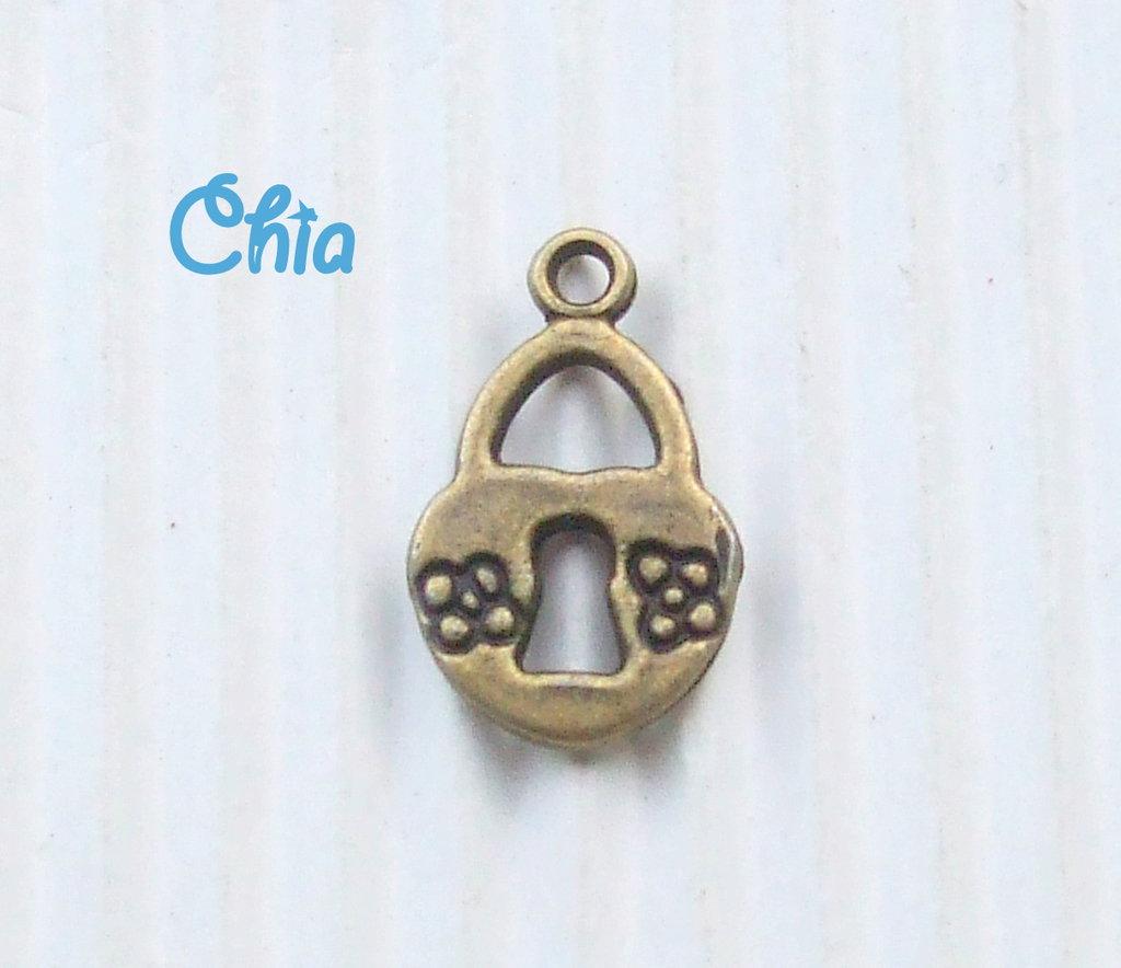 10 charms lucchetto bronzo