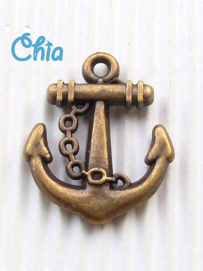 4 charms maxi ancora in resina color bronzo