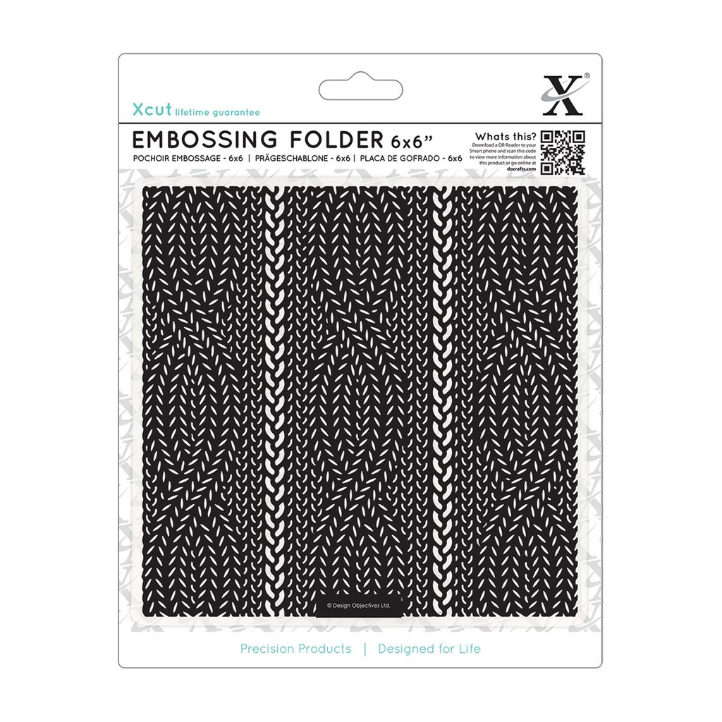 Fustella per embossing 15x15 cm - Cable Knit Pattern