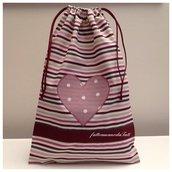 Sacchetto asilo in cotone a righe con cuore a pois sui toni del rosa/vinaccia
