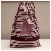 Sacchetto asilo in cotone a righe con stella applicata sui toni del rosa/vinaccia