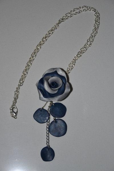 Collana in Fimo - Rosa bicolore blu e argento - fatta a mano