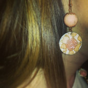 Orecchini stampati in 3d - 3d printed earrings - pizzo rosa e perle rosa