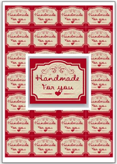 """100 etichette """"handmade for you"""" 4x5cm"""