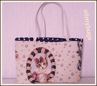 Borsa gattina di stoffa handmade♡