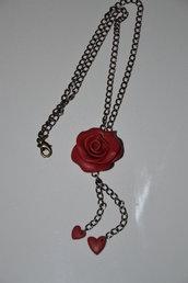 Collana in Fimo - Rosa Rossa - fatta a mano