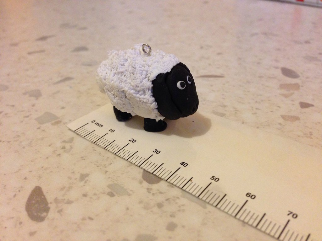 Portachiavi pecorella fimo