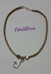 Collana cordino nylon, paracord - Collana con charms - Collana rosa dei venti con arpione - Collana filo con ciondolo metallo argentato