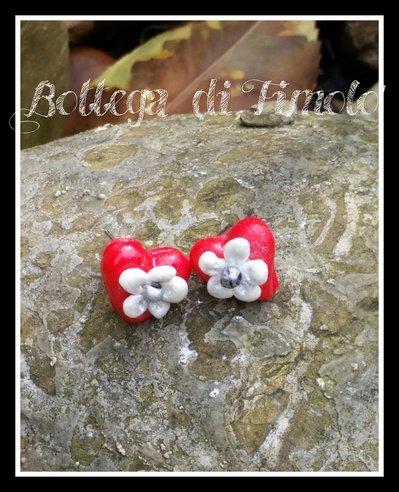 orecchini cuore con fiore