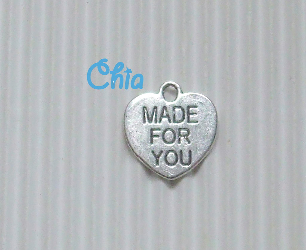 """6 charms cuore """"made for you""""15x15mm"""