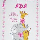 """Quadretto nascita - fiocco nascita - """"Giraffa Lei"""" -punto croce- B05"""