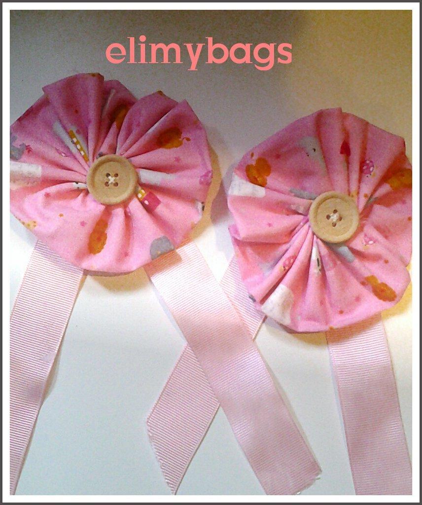 Coccarda rosa bambina decorazione nascita e chiudi tenda per cameretta bambini di stoffa handmade♥