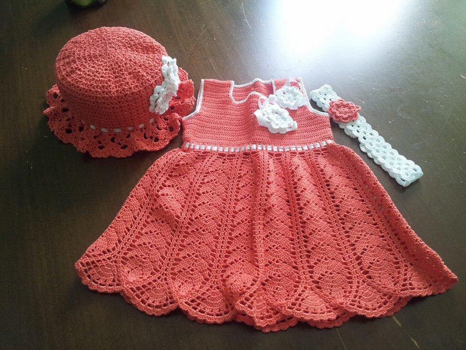 Completo Abito Uncinetto Bimba Bambini Abbigliamento Di Crea
