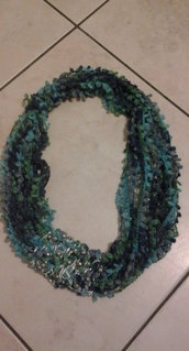 BLUE LAME' - Collana in lana e cotone