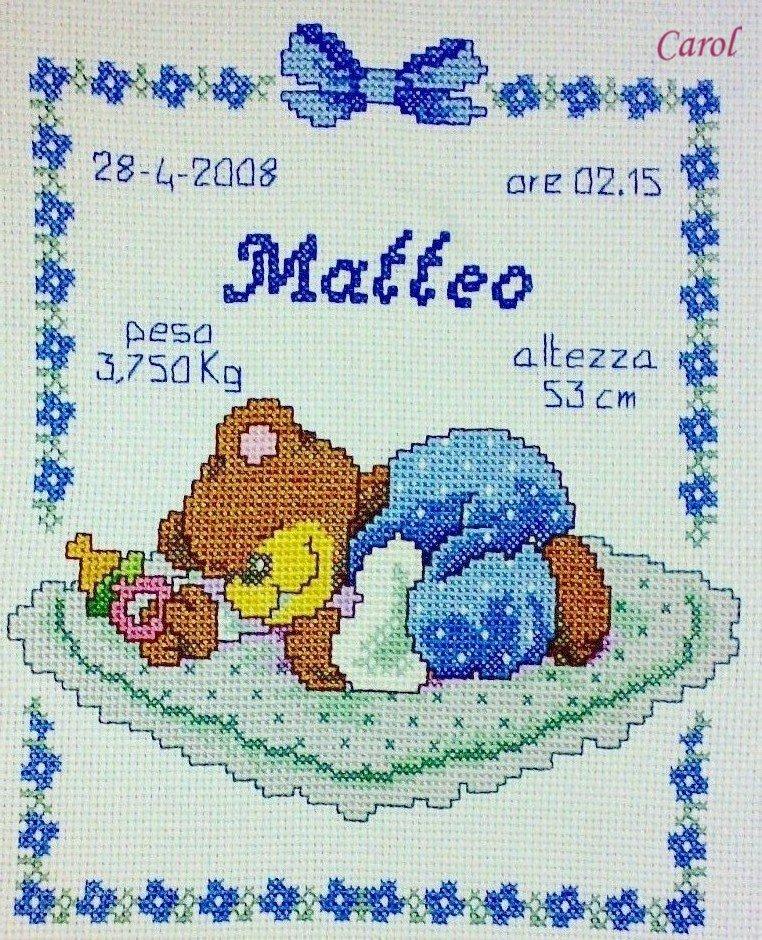 """Quadretto nascita - fiocco nascita - """"Orsetto Lui"""" -punto croce- B10"""