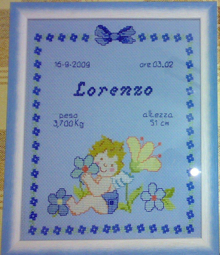 """Quadretto nascita - fiocco nascita - """"Bimbo in fiore"""" -punto croce- B08"""