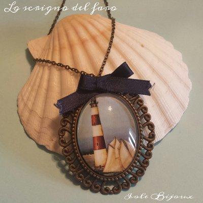 """Collana lunga con cabochon in vetro stile marinaro """"faro"""""""