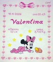 "Quadretto nascita - fiocco nascita - ""Baby Minnie"" -punto croce- B13"