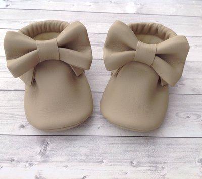 Scarpine mocassini con fiocco e frange in ecopelle beige -  Bambina 3-6 mesi