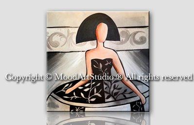 Dipinto figurativo di Ragazza in stile moderno nero e argento