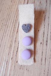 Set di 3 orecchini a lobo bottone e cuore in ceramica polimerica, orecchini fatti a mano, idea per la primavera, colori vitaminici, orecchini caramelle