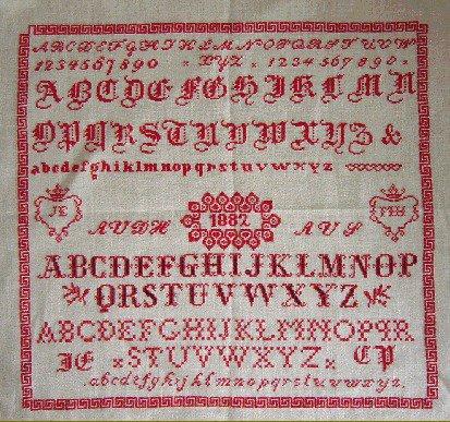 Sampler Alphabet A V D H  - Riproduzione Sampler Punto Croce - Kunst & Vliegwerk