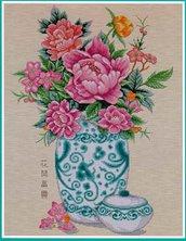 Peony In Vase - Schema Punto Croce Vaso di Peonie - Pinn Stitch