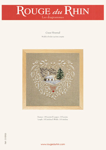 Coeur Hivernal - Schema Punto Croce Cuore Invernale - Rouge du Rhin