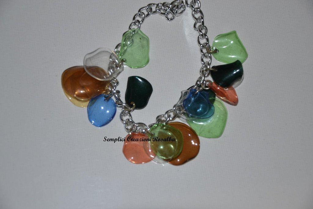 Bracciale in plastica- pepite di plastica- mix colori- bracciale estivo
