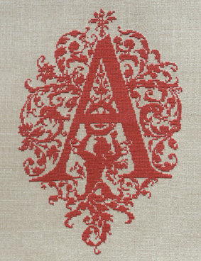 A - Monogramme Ornemental - Schema Punto Croce Iniziale A - Rouge du Rhin