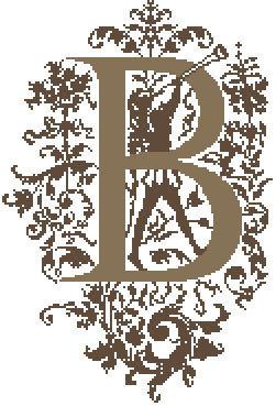 B - Monogramme Ornemental - Schema Punto Croce Iniziale B - Rouge du Rhin